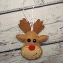 Filc karácsonyfa dísz Rudolf a rénszarvas akár illatosított egész fahéjjal szegfűszeggel, Dekoráció, Karácsonyi, adventi apróságok, Ünnepi dekoráció, Karácsonyfadísz, Varrás, Rudolf a piros orrú rénszarvas fej főként gyapjúfilcből készült készült és alig várja, hogy egy kar..., Meska