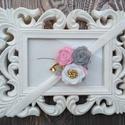 Harmónia - Hajba való kézzel készített filc virágokkal karácsonyi fotózáshoz fehér szürke rózsaszín hajpánt hajcsat