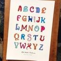 Állatfigurás ABC gyerekeknek, A4 színes nyomat, Print, Dinó, Gyerekszoba dekoráció, Dekoráció, Baba-mama-gyerek, Kép, Fotó, grafika, rajz, illusztráció, 26 betűből álló, kézzel rajzolt ABC, kedves, vicces dinó karikatúra figurákkal. Saját grafikáimból ..., Meska