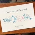 Pozitív üzenet, Stand out from the crowd (Emelkedj ki a tömegből!), A4 print, ceruza rajz, hal, Dekoráció, Baba-mama-gyerek, Kép, Fotó, grafika, rajz, illusztráció, Saját grafikámból készült nyomat: vidám halacskák egy még vidámabb, szuper-magabiztos, duci piros h..., Meska