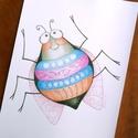 Gyerekszoba dekoráció, Mosolygó bogár, lány, A4 print, ceruzarajz, Baba-mama-gyerek, Gyerekszoba, Baba falikép, Fotó, grafika, rajz, illusztráció, Színes, vidám bogárka. Saját ceruzarajzomból készült minőségi nyomat. A4-es méret (21x30 cm) 200 g-..., Meska