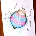 Gyerekszoba dekoráció, Mosolygó bogár, fiú, A4 print, ceruzarajz, Képzőművészet, Grafika, Rajz, Fotó, grafika, rajz, illusztráció, Színes, vidám bogárka. Saját ceruzarajzomból készült minőségi nyomat. A4-es méret (21x30 cm) 200 g-..., Meska