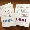 'Life is Cool' 2 db Képeslap, Üdvözlőkártya, Nyomtatott meghívó, Print, Jegesmedve, Maci, Naptár, képeslap, album, Képzőművészet, Képeslap, levélpapír, Szabványméretű képeslap egy szerelmetes, halkedvelő jegesmedve mindennapjairól. 'Life is cool' - áll..., Meska
