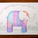 Elefánt print A4, Gyerekszoba, Otthon dekoráció, színes ceruza rajz nyomat, Dekoráció, Képzőművészet, Kép, Fotó, grafika, rajz, illusztráció, Színes, Indiát idéző elefánt grafika, lány elefánt. Saját illusztrációmból készült minőségi nyomat...., Meska