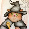 Halloween dekoráció, Boszorkány Macska, Falikép, Ceruzarajz Nyomat, Print A4, Dekoráció, Otthon, lakberendezés, Kép, Fotó, grafika, rajz, illusztráció, Halloween, valamint vámpírok, boszorkányok és a borzongás rajongóinak: mosolygó macskák ezúttal far..., Meska