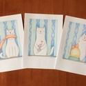 Cica gyerekszoba ceruzarajz dekoráció, Vidám falánk cica és egér, 3 db A5 print, Otthon, lakberendezés, Falikép, Fotó, grafika, rajz, illusztráció, Kedves, egér-barát, ugyanakkor remek étvággyal megáldott cica a babaszobák, gyerekszobák, óvodai fa..., Meska