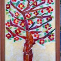 """""""Virágzó fa"""" üvegmozaik kép, Képzőművészet, Dekoráció, Napi festmény, kép, Tiffany üvegmozaikból készített kép,  barna fakeretben Felakasztható Mérete 21X30 cm, Meska"""
