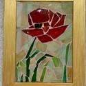 """""""Pipacs""""  üvegmozaik kép, Képzőművészet, Dekoráció, Napi festmény, kép, Mozaik, Tiffany Üvegdarabokból kirakott kép, fugázva. Az üvegdarabkákat magam vágtam méretre, üveglapra van..., Meska"""