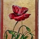 """""""Pipacs""""  üvegfestmény, Képzőművészet, Dekoráció, Napi festmény, kép, Üvegfestéssel készült kép, arany fakeretben Mérete 20X25 cm, Meska"""
