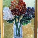 Hortenzia kövekből, Képzőművészet, Dekoráció, Napi festmény, kép, Üvegfestéssel kombinált kép félnemes kövekből kirakott hortenziával, fakeretben Mérete 21X3..., Meska