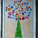 """""""Vidám színes fa""""  pasztellrajz, Képzőművészet, Dekoráció, Napi festmény, kép, Pasztellrajz ezüst fakeretben üveg mögött. Mérete 30X40 cm, Meska"""