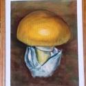Tojásgomba pasztellrajz, Képzőművészet, Dekoráció, Napi festmény, kép, Pasztellrajz barna fakeretben üveg mögött. Mérete 24X30 cm, Meska
