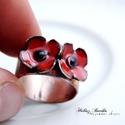 Poppy - tűzzománc-réz gyűrű , Zárt, karikagyűrű, tűzzománc pipacsokkal, mel...