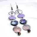 Minimál - Páva - tűzzománc fülbevaló (lila), Szép élénk lila színű ékszerzománcot, kézz...