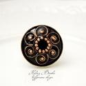 Klimt csigái - tűzzománc-réz gyűrű, Állítható gyűrű, tűzzománcozva. A kör átm...
