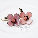 Róza - Tűzzománc virág fülbevaló , Vörösrézlemezből kivágott alapra készült, k...