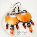 Karola - tűzzománc fülbevaló - narancs-kék, Elegáns, nőies, könnyű viselet. A fülbevaló ...