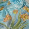 Tulipánok a szélben, Ruha, divat, cipő, Kendő, sál, sapka, kesztyű, Sál, Selyemfestés, Kézzel festett selyemsál  Ezt a pasztell árnyalatú, tavaszi selyemsálat narancssárga tulipánokkal  ..., Meska