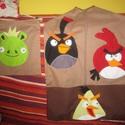 Angry Birds ovis zsák és tornazsák szett, Baba-mama-gyerek, Gyerekszoba, Tárolóeszköz - gyerekszobába, Varrás,   A képen látható oviszsák szett mérete:42x60 cm, a tornazsáké:35x30 cm. Pamutvászon anyagból készü..., Meska