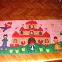 Super Mário falvédő kislányoknak 200x80 cm, Baba-mama-gyerek, Gyerekszoba, Falvédő, takaró,    A képen látható falvédő applikációs technikával készült. Vatelin közbéléssel bélelt..., Meska