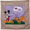 Mickey egeres  textilkép babaszobába., Baba-mama-gyerek, Gyerekszoba, Baba falikép, Varrás,    A képen látható textilképet applikációs technikával készítettem. Egy réteg vastag vatelinnal, és..., Meska