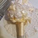 Örökké tartó muszlin menyasszonyi csokor,örök csokor., Dekoráció, Esküvő, Esküvői csokor, Csokor, Örökké tartó csokrok  Menyasszonyi csokor,csipkével,szaténnal,muszlinnal,virágokkal,gyönggye..., Meska