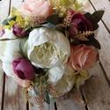 Pünkösdi rózsa menyasszonyi csokor ,örök esküvői csokor,különleges és romantikus esküvőre., Dekoráció, Esküvő, Esküvői csokor, Csokor, Virágkötés, Örökké tartó csokrok Menyasszonyi csokor,minőségi selyem tartós virágból.Szárára zöld szatén és csi..., Meska