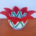 Piros tulipán kehely, Dekoráció, Otthon, lakberendezés, Dísz, Kaspó, virágtartó, váza, korsó, cserép, Papírművészet, Decoupage, transzfer és szalvétatechnika, A termék origami papírhajtogatási technikával készült. 6x3,5 cm-es kis téglalapokból hajtogattam és..., Meska