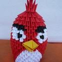 Angry Birds /piros/, Mindenmás, Játék, Játékfigura, Papírművészet, Mérges madár figura. A termék origami papírhajtogatási technikával készült. 6x3,5 cm-es kis téglala..., Meska