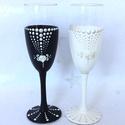 Romantikus minimál elegáns esküvői pohár szett / pezsgős hohár - gyöngymintás festett díszítéssel, Esküvő, Esküvői dekoráció, Meghívó, ültetőkártya, köszönőajándék, Nászajándék, Festett tárgyak, Különleges ajándék és örök emlék egy ilyen gyöngyház fényű festéssel ellátott elegáns pohárszett az..., Meska