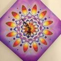 Lila óra mandala, Ékszer, óra, Képzőművészet, Festmény, Ez egy mandala,természetesen ezen is vannak angyali szimbólumok. Falra is lehet akasztani illetve ..., Meska