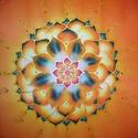 Narancsos lótuszvirág angyali szimbólummal, Dekoráció, Képzőművészet, Otthon, lakberendezés, Festmény, Festészet, Selyemfestés, A kép által tulajdonába kerül egy Angyal -mandala. Angyali segítő vannak a mandalán tehát nem csak ..., Meska