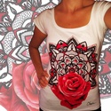 Mandalás rózsás póló, Képzőművészet, Ruha, divat, cipő, Női ruha, Felsőrész, póló, Fotó, grafika, rajz, illusztráció, Egyedi tervezésű rövidujjú pólók. Fekete és fehér színben, S, M, L méretekben van raktáron, de XL-e..., Meska