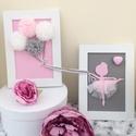 Rózsaszín balerinás falikép gyerekszobába, Gyerek & játék, Gyerekszoba, Baba falikép, Papírművészet, Csomózás, Kislányos rózsaszín és szürke, tüllel és csillogó strasszal díszített balerina falikép szett. Össze..., Meska