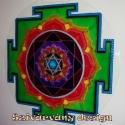 Ganesha Yantra - 50 cm-es, Dekoráció, Képzőművészet, Festmény, Festészet, Festett tárgyak, Ez a Yantra sikert generál a munkában és az üzletben. Jó szerencsét és új lehetőségeket hoz a karri..., Meska