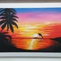 Naplemente, Otthon & lakás, Képzőművészet, Festmény, Akril, Festészet, Saját készítésű akril festmény, feszített vásznon. Mérete 30x40 cm. Ha megtetszett a kép, érdeklődj..., Meska