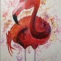 Flamingó, Otthon & lakás, Dekoráció, Képzőművészet, Festmény, Akril, Festészet, Feszített vászonra készült akril festmény. A festmény egy különlegesen szép madarat, egy flamingót ..., Meska