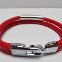 Piros bőrkarkötő, Ékszer, óra, Karkötő, Nyaklánc, Piros bőrből készült a két soros karkötő egyszerű, de elegáns szerelékekkel.   , Meska