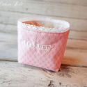 Hímzett textiltároló, rózsaszín, Rózsaszín textiltároló csipkés szegéllyel, H...