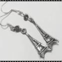 Eiffel torony  fülbevaló, Ékszer, óra, Fülbevaló, Lógós Eiffel torony ezüstözött fém fülbevaló. A lógós rész mérete 3 cm. , Meska