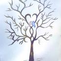 Esküvői kézzel festett ujjlenyomat fa, kép, feszített vásznon / nászajándék , Esküvő, Dekoráció, Esküvői dekoráció, Nászajándék, Festészet, Esküvői, barna ujjlenyomat fa. Kézzel festett, feszített vásznon.  Méret: 30x40 cm.  Egyéni elképze..., Meska