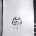 Esküvői, kézzel rajzolt ujjlenyomat kép / autós
