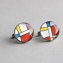 Mondrian nemesacél mandzsettagombok (kerek), Férfiaknak, Mandzsettagomb, Vőlegényes, Ékszerkészítés, Mindenmás, Ha SÜRGŐS, kérdezz vásárlás előtt, lehet, hogy van belőle kész darabom is. ________________________..., Meska