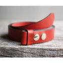 Piros marhabőr patentos öv, Ruha, divat, cipő, Férfiaknak, Öv, Öv, övcsat, Bőrművesség, Egy öv, számtalan variációs lehetőség!  Nagyon szép, cseresznyepiros színű patentos öv 100% marhabő..., Meska