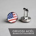 Amerikai zászló nemesacél mandzsettagombok, Férfiaknak, Vőlegényes, Mandzsettagomb, Hagyományőrző ajándékok, Ha SÜRGŐS, kérdezz vásárlás előtt, lehet, hogy van belőle kész darabom is. _________________________..., Meska