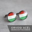 Magyar zászló nemesacél mandzsettagombok, Férfiaknak, Mandzsettagomb, Hagyományőrző ajándékok, Ha SÜRGŐS, kérdezz vásárlás előtt, lehet, hogy van belőle kész darabom is. _________________________..., Meska