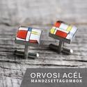 Mondrian nemesacél mandzsettagombok (szögletes), Férfiaknak, Mandzsettagomb, Vőlegényes, Ha SÜRGŐS, kérdezz vásárlás előtt, lehet, hogy van belőle kész darabom is. _________________________..., Meska