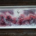 Falikép textilszobrászattal, Dekoráció, Esküvő, Képzőművészet, Otthon, lakberendezés, Mindenmás, Ez a 3D-s  kép fehér fa keretbe van foglalva, mérete  82x42cm. Textilszobrászattal készítettem, min..., Meska