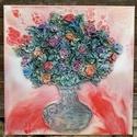 Pirosan, Dekoráció, Esküvő, Képzőművészet, Otthon, lakberendezés, Mindenmás, Festészet, Ezt a faliképemet  50x50cm-es feszített vászon alapra készítettem. Alkotásaim textilszobrászattal k..., Meska