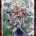 Zöld háttérrel, Dekoráció, Esküvő, Képzőművészet, Otthon, lakberendezés, Mindenmás, Festészet, Ezt a faliképemet  30x40cm-es feszített vászon alapra készítettem. Alkotásaim textilszobrászattal k..., Meska